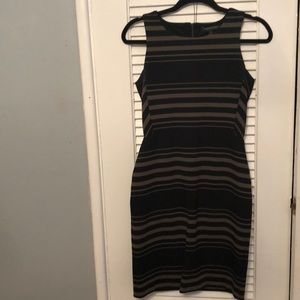 Black and Olive striped dress